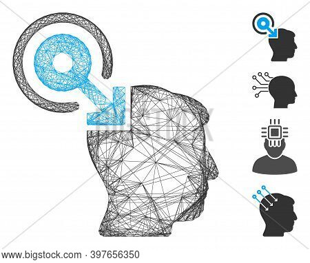 Vector Wire Frame Brain Interface Plug-in. Geometric Wire Frame Flat Network Based On Brain Interfac