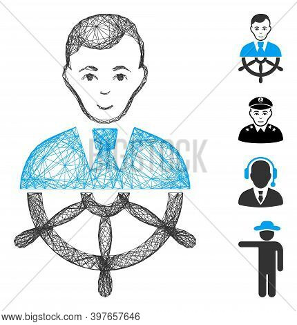 Vector Network Captain. Geometric Wire Carcass 2d Network Made From Captain Icon, Designed With Cros