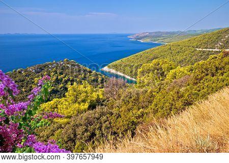 Korcula Island Coastline. Pupnatska Luka Cove View From The Hill, Southern Dalmatia Archipelago Of C