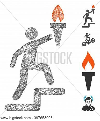 Vector Wire Frame Climbing Leader With Torch. Geometric Wire Frame 2d Network Made From Climbing Lea