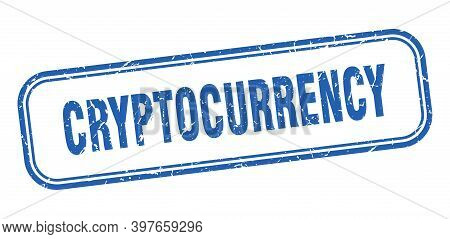 Cryptocurrency Stamp. Cryptocurrency Square Grunge Blue Sign. Cryptocurrency Tag