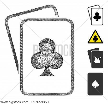 Vector Network Clubs Gambling Cards. Geometric Hatched Frame Flat Network Made From Clubs Gambling C