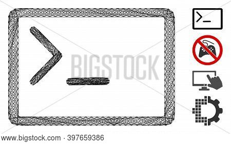 Vector Wire Frame Coding Console. Geometric Wire Frame 2d Net Generated With Coding Console Icon, De