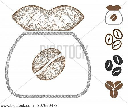 Vector Wire Frame Coffee Grain. Geometric Linear Frame 2d Network Generated With Coffee Grain Icon,