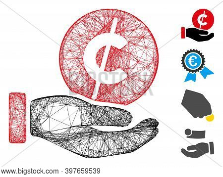 Vector Net Coin Micropayment Hand. Geometric Wire Carcass Flat Net Made From Coin Micropayment Hand