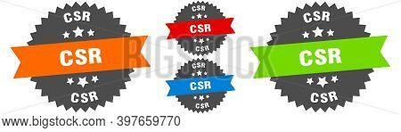 Csr Sign. Round Ribbon Label Set. Seal