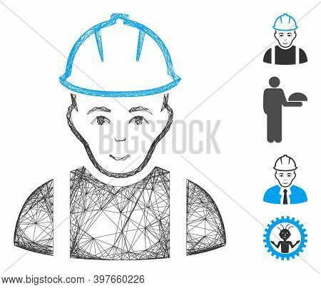 Vector Net Contractor. Geometric Hatched Carcass Flat Net Generated With Contractor Icon, Designed W