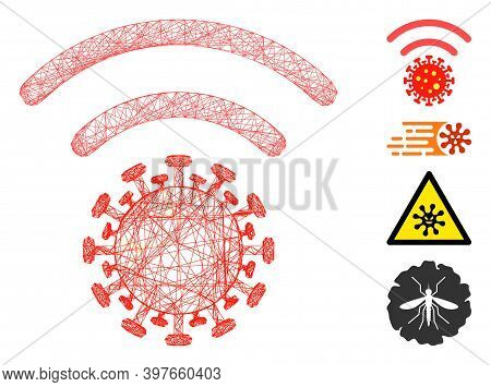 Vector Wire Frame Coronavirus Distribution. Geometric Linear Frame Flat Net Based On Coronavirus Dis