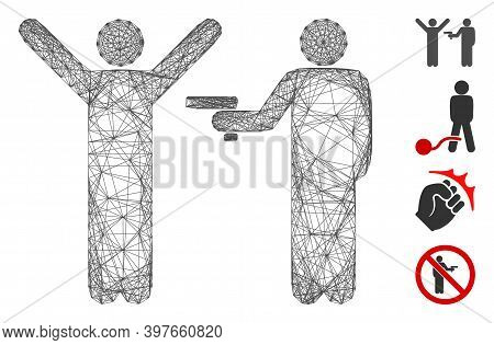 Vector Net Crime Robbery. Geometric Linear Carcass 2d Net Made From Crime Robbery Icon, Designed Fro
