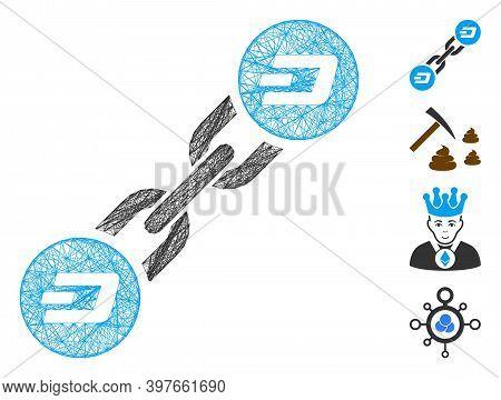 Vector Network Dash Blockchain. Geometric Wire Frame 2d Network Made From Dash Blockchain Icon, Desi