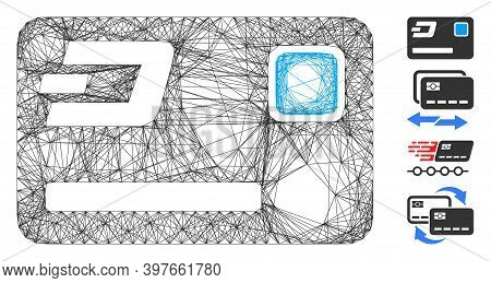 Vector Wire Frame Dash Credit Card. Geometric Wire Frame 2d Network Made From Dash Credit Card Icon,