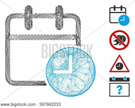 Vector Wire Frame Date Time. Geometric Wire Frame 2d Net Made From Date Time Icon, Designed With Int