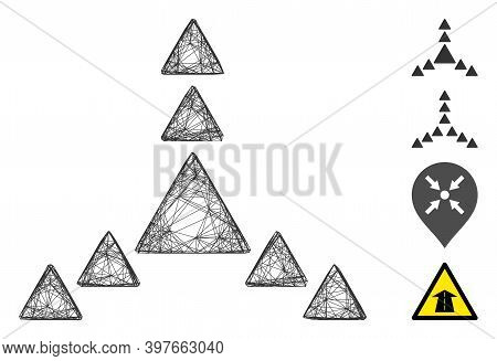 Vector Net Direction Triangles. Geometric Wire Carcass Flat Net Generated With Direction Triangles I
