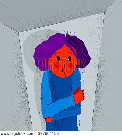 Claustrophobia Fear Of Closed Space And No Escape Vector Illustration, Girl Is Closed In Small Room