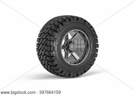 Off-road Car Wheel - Rim With Tire For Off-road Car Isolated On White Background - 3d Render