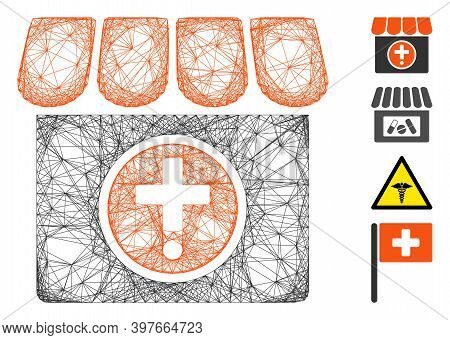 Vector Wire Frame Drugstore. Geometric Wire Frame 2d Network Based On Drugstore Icon, Designed From
