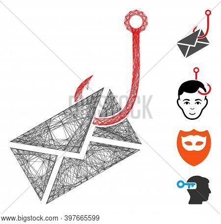Vector Wire Frame Envelope Phishing Hook. Geometric Wire Frame 2d Net Generated With Envelope Phishi