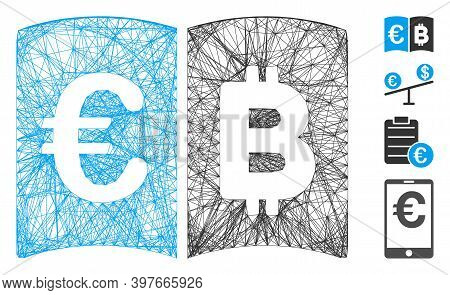 Vector Wire Frame Euro And Bitcoin Catalog. Geometric Wire Frame Flat Net Generated With Euro And Bi