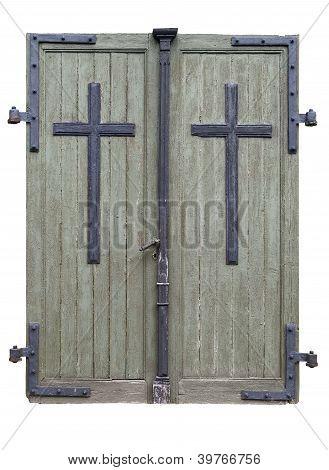 Threadbare Wooden Doors Isolated. Clipping Path