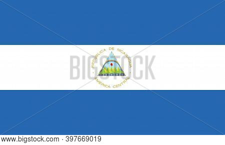 National Nicaragua Flag, Official Colors And Proportion Correctly. National Nicaragua Flag.