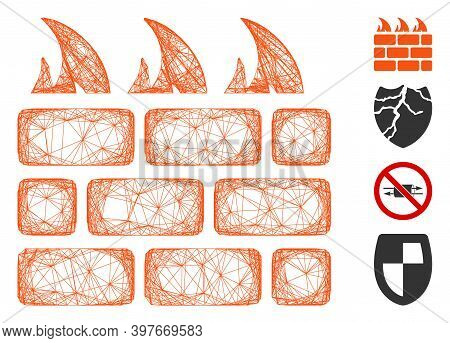 Vector Wire Frame Firewall. Geometric Wire Frame Flat Network Made From Firewall Icon, Designed From