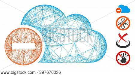 Vector Wire Frame Forbidden. Geometric Wire Frame Flat Network Made From Forbidden Icon, Designed Fr