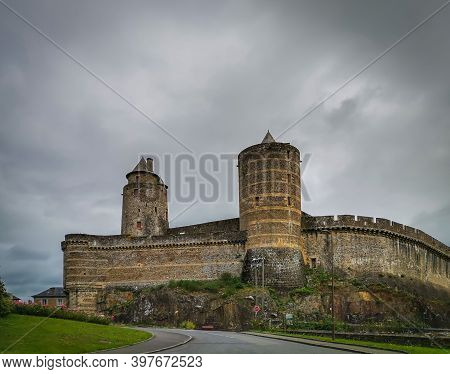 Fougères, France, Sept 2020, view from outside Fougères Castle on an overcast day