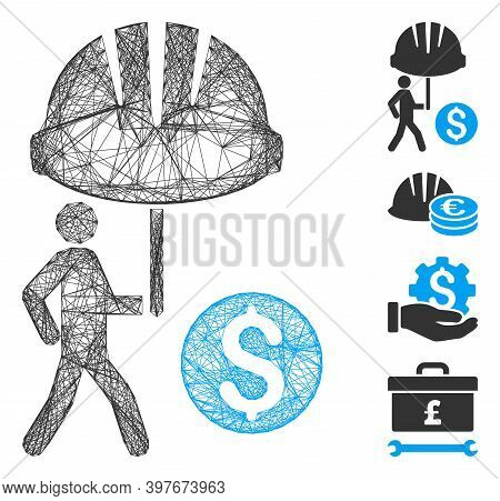 Vector Wire Frame Industrial Financial Coverage. Geometric Wire Carcass Flat Network Made From Indus