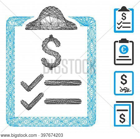 Vector Net Invoice Pad. Geometric Linear Frame 2d Net Generated With Invoice Pad Icon, Designed With