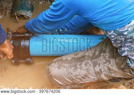 Plumber Work Repair Water Line Connect In Construction