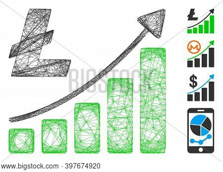 Vector Wire Frame Litecoin Growth Trend. Geometric Wire Frame Flat Network Made From Litecoin Growth