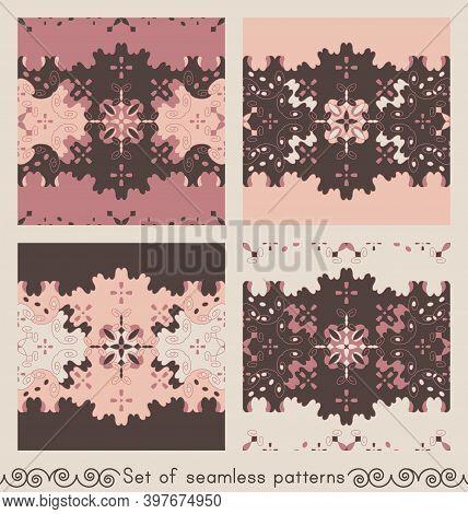 Set Of Seamless Patterns Retro, Vintage. Chocolate Color, Pink, Pastel Orange And Cream Ivory. Spira