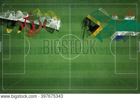 Brunei Vs South Africa Soccer Match, National Colors, National Flags, Soccer Field, Football Game, C