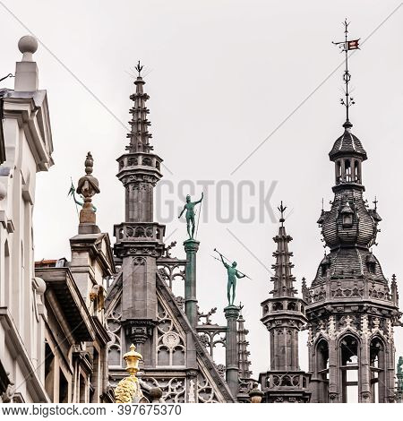 Fragment Of The Roof Of The Brussels City Museum On The Grand Place Square, Europe, Belgium, Brussel