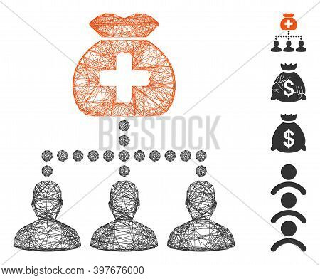 Vector Network Medical Fund Clients. Geometric Wire Carcass 2d Network Generated With Medical Fund C