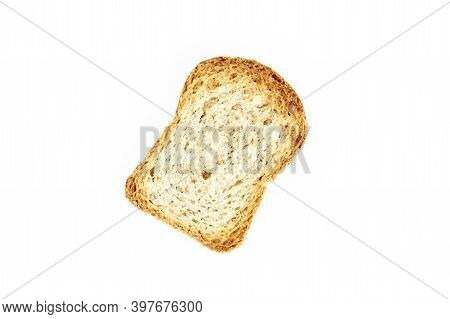 Crusty Bread Toast Slice Isolated On White Background. Healthy Food Concept