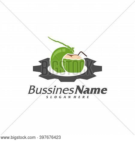Gear Coconut Logo Vector Template, Creative Coconut Logo Design Concepts, Icon Symbol, Illustration
