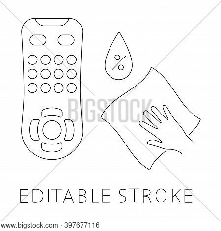 Sanitizing Of Tv Remote. Remote Disinfection. Disinfection Of Tv Clicker Using Antibacterial Napkin.