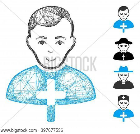 Vector Wire Frame Orthodox Priest. Geometric Linear Frame Flat Net Generated With Orthodox Priest Ic