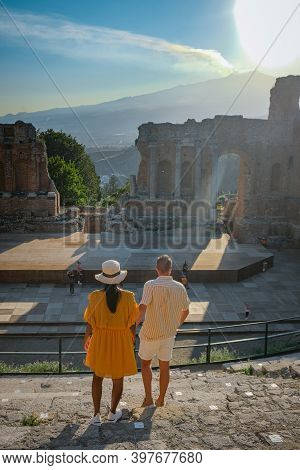 Taormina Sicily, Belvedere Of Taormina And San Giuseppe Church On The Square Piazza Ix Aprile In Tao