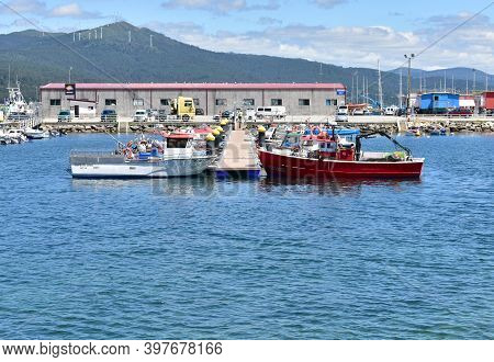 Portosin, Spain. June 30, 2020. Harbor And Galician Fishing Vessels At Famous Rias Baixas In Galicia