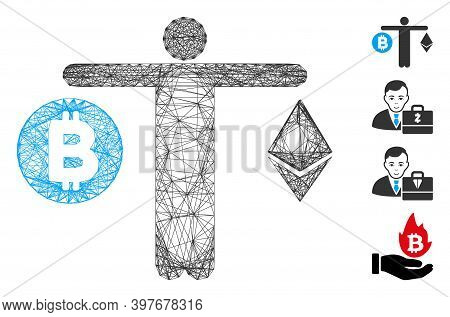 Vector Wire Frame Person Compare Cryptocurrency. Geometric Wire Frame Flat Network Made From Person