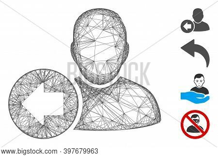 Vector Wire Frame Previous User. Geometric Wire Frame Flat Network Made From Previous User Icon, Des