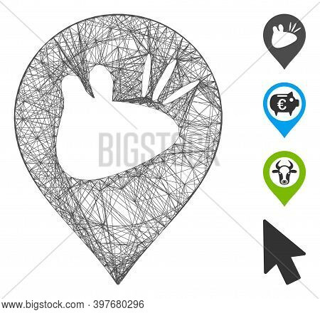 Vector Wire Frame Rats Marker. Geometric Wire Frame 2d Net Generated With Rats Marker Icon, Designed