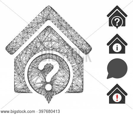 Vector Net Realty State. Geometric Hatched Frame Flat Net Made From Realty State Icon, Designed From