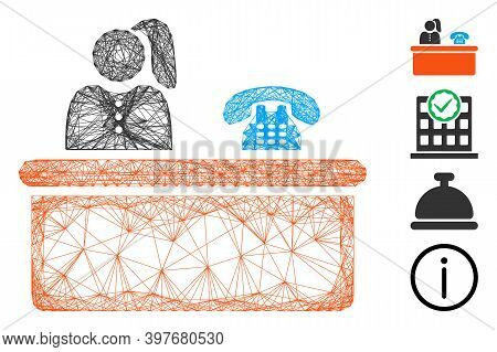 Vector Wire Frame Reception. Geometric Wire Carcass 2d Network Made From Reception Icon, Designed Fr
