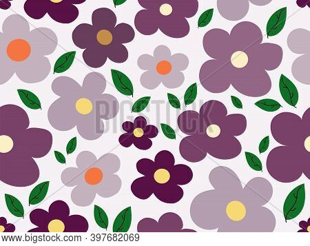Colourful Flowers In Mauve Shades And Leaves A Vector Seamless Illustration. Useful For Background D