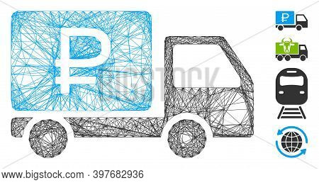 Vector Net Rouble Shipment. Geometric Hatched Carcass Flat Net Generated With Rouble Shipment Icon,