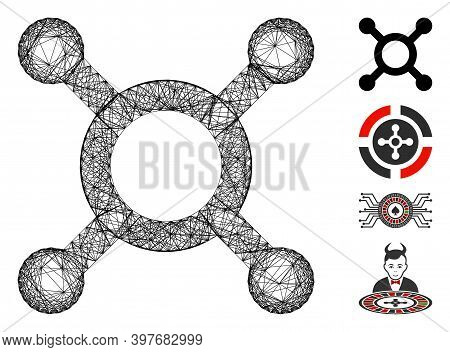 Vector Wire Frame Roulette. Geometric Wire Carcass Flat Network Made From Roulette Icon, Designed Fr