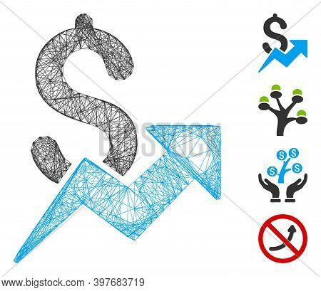 Vector Network Sales Growth. Geometric Wire Frame 2d Network Made From Sales Growth Icon, Designed F